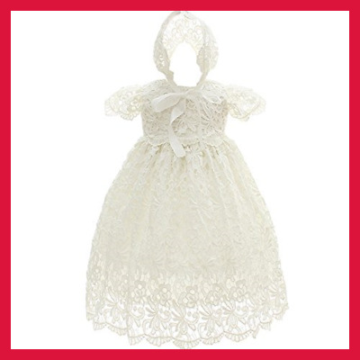 Newborn Baby Girls Floral Lace Cap Sleeve Christening Gown Baptism Dress Formal