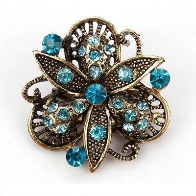 Blue Antique Three Leaves Floral Crystal Scarf Pin and Brooch