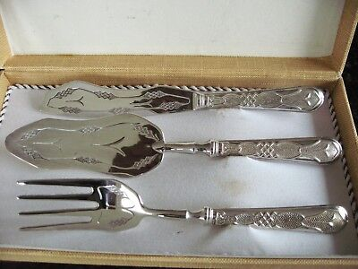 Lovely Vintage Silver Plated Wedding Cake Serving Cutlery set from the 1950's