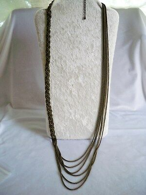 Vintage Braided Multi-Strand Antique Brass Mesh Long Chain Runway Style Necklace