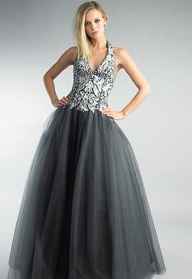 BASIX BLACK LABEL D7243 Silver Painted Charcoal HalterTulle Gown Sz 2 $550 NWT