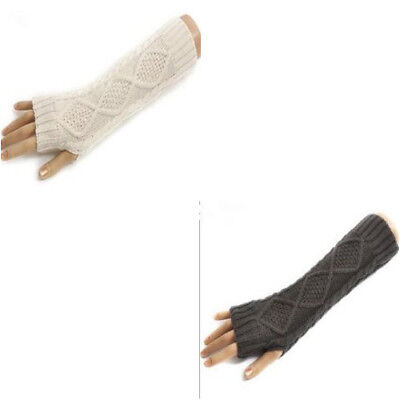 Stylish Twist Knitted Crochet Long Stretch Finger-less Thumb Hole Glove For Girl