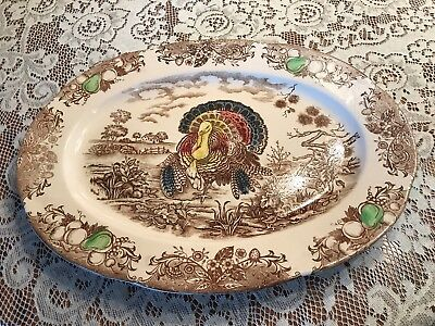 Vintage-Large-Turkey-Oval-Platter-18-x-13-Transfer-Ware-Made-in-Japan