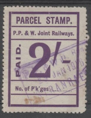 Scotland Portpatrick & Wigtownshire Railway 2/- Purple Parcel Stamp Used 1916