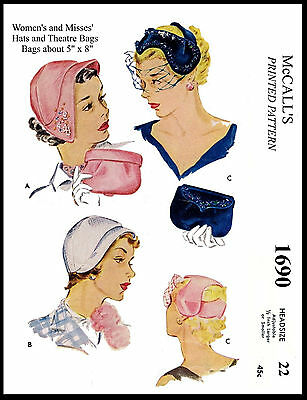 Pattern Vintage Millinery HAT & BAG Fascinator Fabric Sew Material McCall # 1690