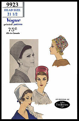 Deep Hats Fabric Sewing Pattern VOGUE #9923 Designer JOHN FREDERICS Chapeau 21.5