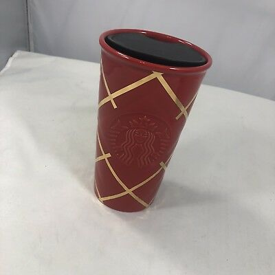 ** Brand New ** Starbucks Holiday Mug Travel Tumbler Quilted Red And Gold