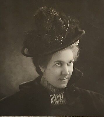 1900's Young Lady SCHOOL GIRL Fancy Hat CABINET CARD PHOTO Mt Clemens Mich