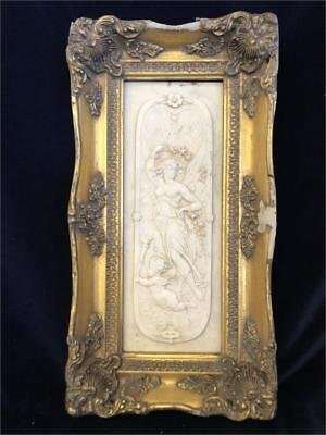 Antique Italian Marble Carved Image of a Lady & Cherub, in a Gilt Plaster Frame.