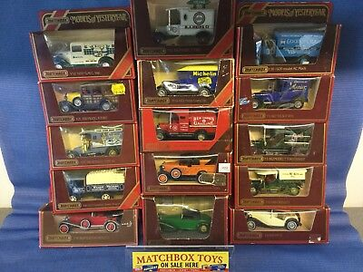 Matchbox Models Of yesteryear...15 x Cars/vans .job lot/collection in red boxes