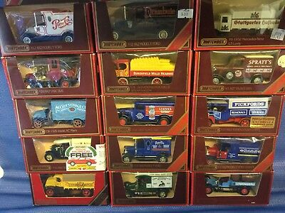 Matchbox Models Of yesteryear..15 Vans/trucks..job lot/collection in red boxes