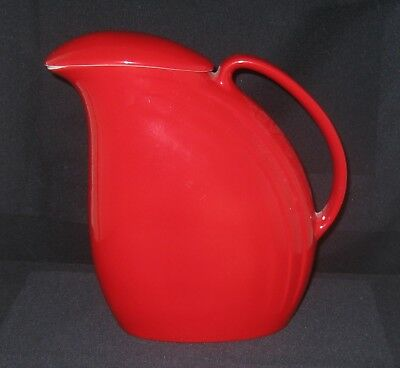 Hall China Nora Ice Lip Refrigerator Pitcher w/LID Chinese Red Repaired Handle