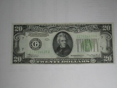 1934 $20 a real beauty light Green seal NICE! CRISP AND CLEAN