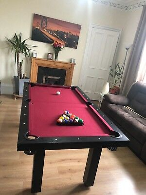 RED CLOTH WOOD Pool Table With Dinning Table Top Accessories - Red top pool table