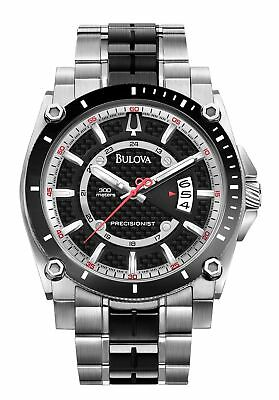 Bulova 98B180 Watch Men's Precisionist Gray Dial Date Black-Tone Stainless Steel