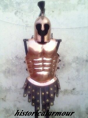 COPPER ANTIQUE ROMAN GREEK MUSCLE ARMOR BREASTPLATE CUIRASS with Troy HELMET
