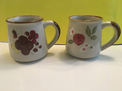 2 Vintage Coffee Mug Cup Stoneware Made In Korea Hand-Painted Floral Print