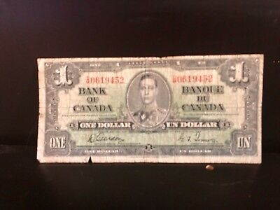 1937 Bank of Canada 🇨🇦 One Dollar Banknote