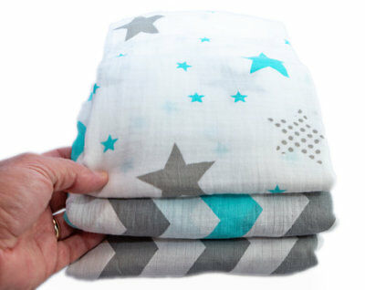 Organic Cotton Muslin Baby Swaddle Blankets Large 47 x 47