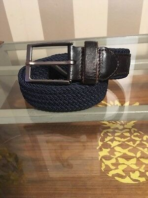 """GUTTERIDGE & CO. blue stretch belt with leather tabs / up to 40"""" W"""