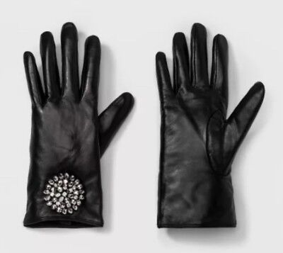 A New Day Women's Leather Tech Touch Gloves with Broach-Black-M/L SAVE💰💰