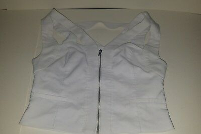 Revolution Dancewear Strappy Sleeveless Zipper Front Top size small womens white