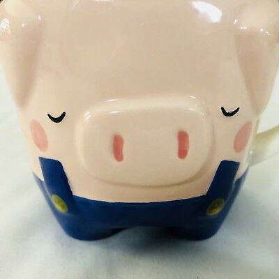 Pink Pig in Overalls Coffee Mug Cup HOGS AND KISSES well detailed TAG