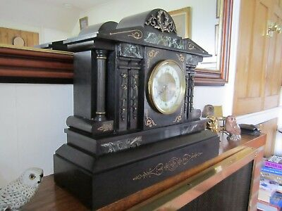 Antique Slate/marble Huge French Mantel Clock In Very Good Working Order