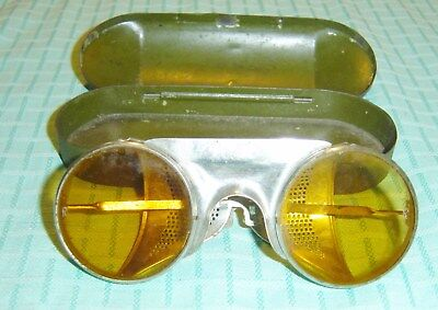 Vintage Men's Goggles With Tin Case Marked Resistal S&B NY