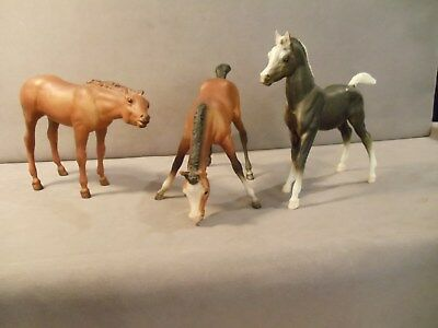 Three Small Vintage Standing Bryer Ponies In Different Poses