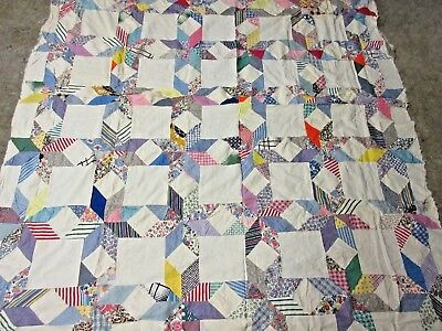 "Vintage Hand Stitched Feed Sack STAR Pattern Quilt TOP 87"" x 76"""