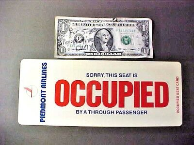 circa 1970s Piedmont Airlines Occupied Seat Card