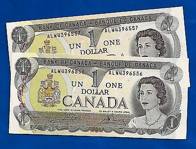 TWO 1973 CANADA Canadian ONE 1 DOLLAR BILL prefix ALW NOTES CRISP UNC