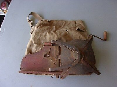 Antique Cyclone Seed Sower Spreader Farm Tool Hand Crank Bag Seeder Old