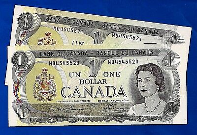 TWO 1973 CANADA Canadian ONE 1 DOLLAR BILL prefix MD NOTES CRISP UNC