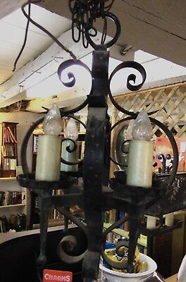 ANTIQUE WROUGHT IRON  HANGING LIGHT  thick, solid, heavy, hammered.