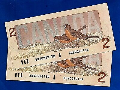 TWO 1986 CANADA Canadian CONSECUTIVE BUN 2 TWO DOLLAR BILLS NOTES UNC
