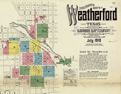 Weatherford, Texas~Sanborn Map© sheets~on CD , color  for 1910 ~16 MAPS