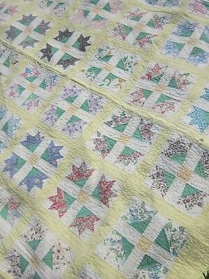 Q350) Antique Quilt, Soft Yellow, Some Feedsack Prints