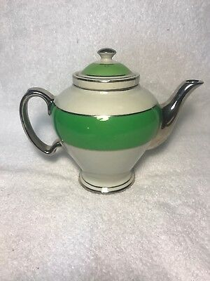 Vintage McCormick Teapot & Infuser Green White Silver Hall China Tea Pot
