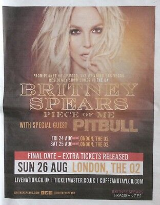 BRITNEY SPEARS 'Piece Of Me' UK Newspaper Concert Tour Advert *One More Time
