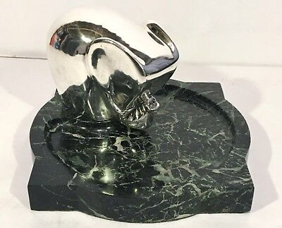 FRENCH ART DECO Silver Elephant & Marble ASHTRAY Modernist