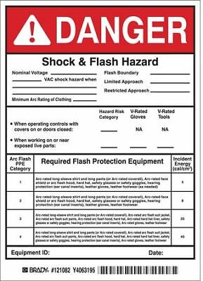 Arc Flash Protection Label,7 In. H,PK5 BRADY 121082