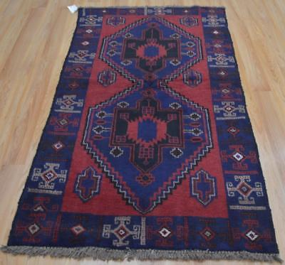 3'3 x 6'2 New Baluch Balouch Turkoman Tribal Hand Knotted Oriental Wool Area Rug