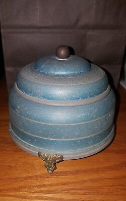 VINTAGE Wind-Up Music Box - Powder Puff / Trinket - Round Metal  Music Box Works