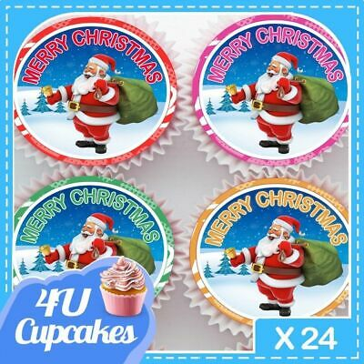 Father Christmas Santa Edible Cupcake Toppers Decorations Cake Cc80089