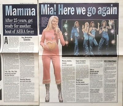 MAMMA MIA UK Daily Mail Newspaper Clipping 1999 *Abba SOS Agnetha Frida Fernando