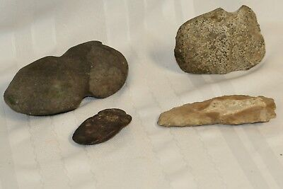 Lot of 4 Indian Artifacts Stone Axe Tomahawk Tools Arrow Head