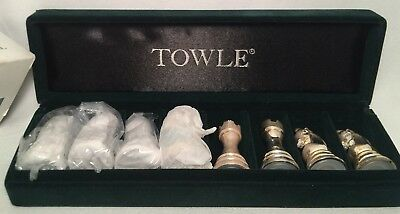 Vintage Towle Silversmiths Set of 8 Chess Pieces Salt & Pepper Shakers