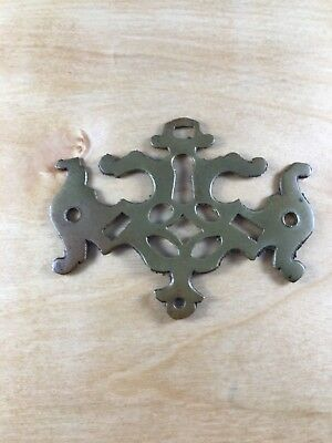 Antique Solid Brass Chippendale Escutcheon Key Hole Hardware Reclaimed Salvage